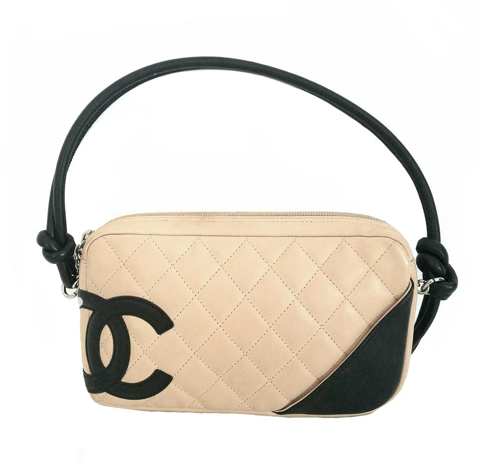 05367f753f06c3 Chanel Cambon Ligne Pochette Tan and Black Leather Shoulder Bag ...