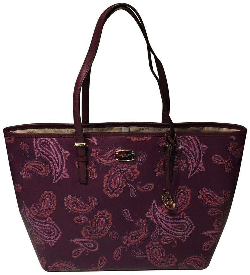 6a29c3e8d89a43 Michael Kors Women's Jet Set Travel Large Leather Carry All Plum Paisley  Tote