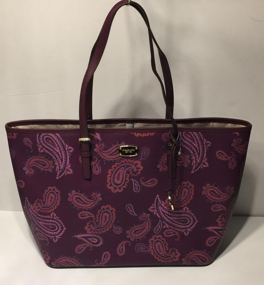 c44d466990ccc4 Michael Kors Women's Jet Set Travel Large Leather Carry All Plum Paisley  Tote - Tradesy