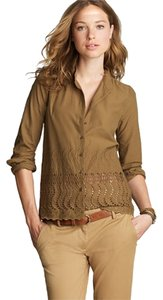 J.Crew Eyelet Delaney Scalloped Top Spiced Olive