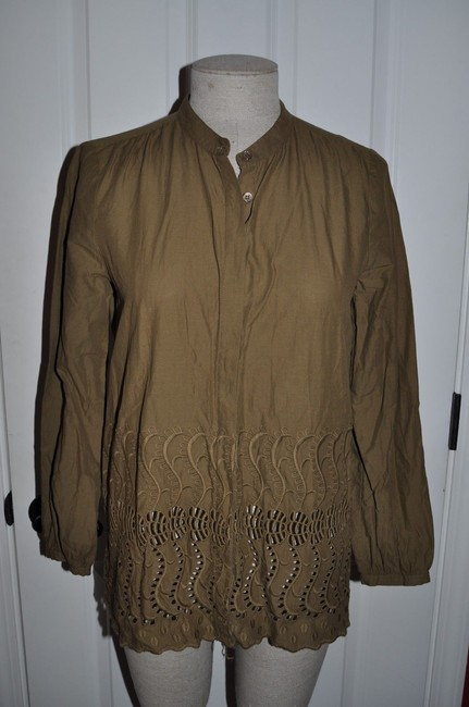 J.Crew Eyelet Delaney Scalloped Embroidered Top Spiced Olive