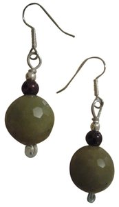 Handmade NEW Handmade Olive Green Faceted SERPENTINE Gemstone Earrings w Berry Accent Beads Buy3Get1Free Sale