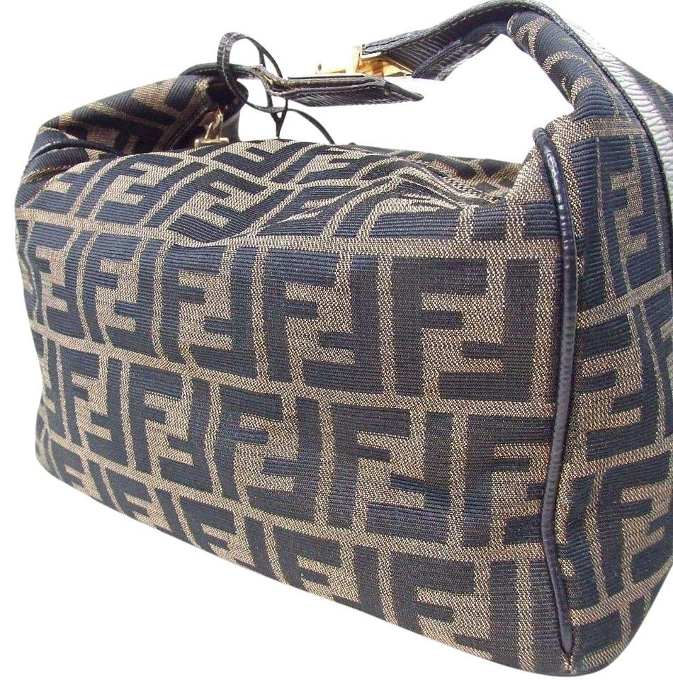 Fendi Zucca Pattern Hand Leather Brown Black Canvas Shoulder Bag ... 73bdbf85ba23d