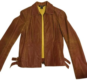 DKNY brick-red Leather Jacket