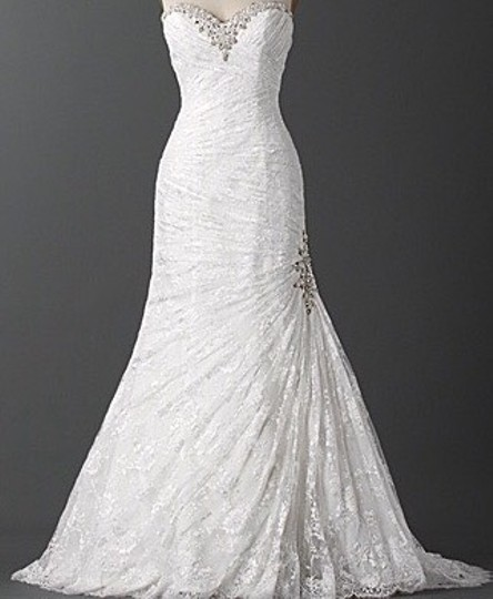 Alfred Angelo White Lace Juliet Wedding Dress Size 6 (S)