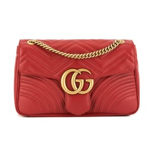 315e81b21808 Added to Shopping Bag. Gucci Shoulder Bag. Gucci Marmont Hibiscus Gg Medium  Matelasse Red Leather ...