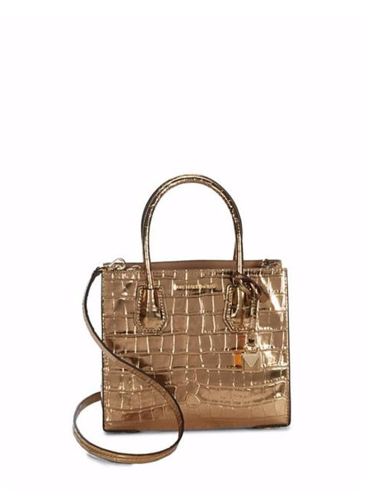 9dfc882a1e4bcd Michael Kors Mercer Metallic Embossed-leather Crossbody Gold Faux ...