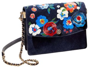 Tory Burch Gold Chain Floral Floral Embroidery Embroidery Shoulder Bag