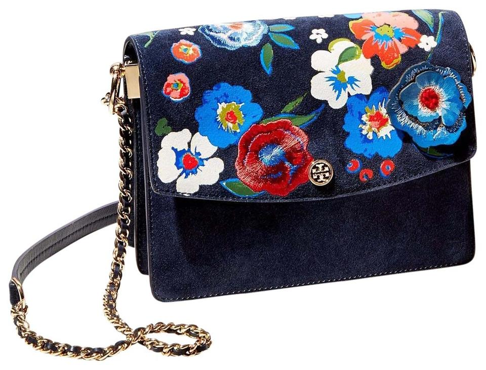 d892e7a9e25 Tory Burch Gold Chain Floral Floral Embroidery Embroidery Shoulder Bag  Image 0 ...
