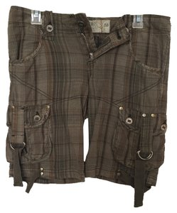 BKE Casual Bermuda Shorts olive green plaid