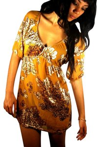 Hale Bob Burnout Velvet Festival Tunic Top Gold
