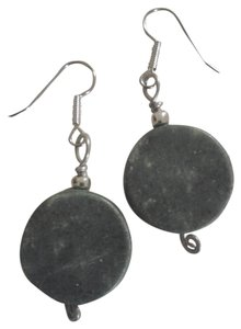 Handmade NEW Handmade Green Marble Stone Round Disc Pendant Dangle Earrings Buy3Get1Free Sale