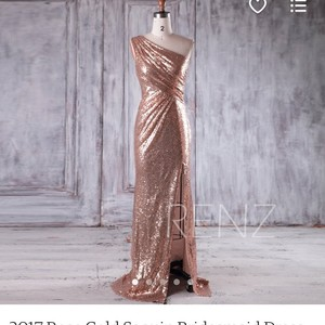 Rose Gold Sequence Off The Shoulder Formal Dress Size 6 (S)