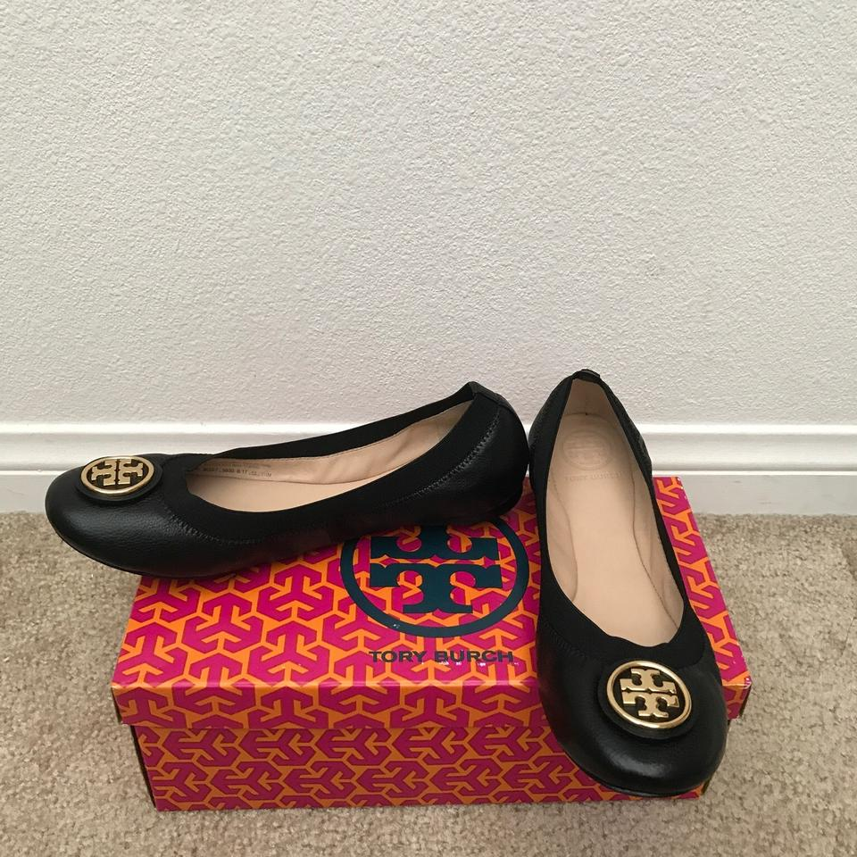 69c425b0ff3f Tory Burch Black   Gold   Caroline 2  Ballet - Leather   Elastic ...