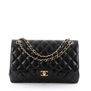 f2e06acb4cd9 Added to Shopping Bag. Chanel Leather Shoulder Bag. Chanel Classic Flap  Classic Double Quilted Jumbo Black Lambskin ...