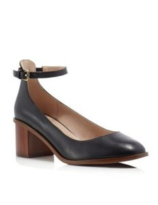 French Connection Leather Strap Black Pumps