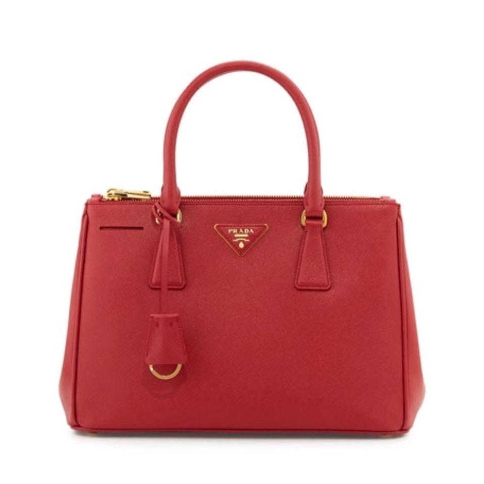 1422f2921b1d83 Prada Double Lux Galleria Saffiano Large Zip - (Fuoco) Red Calfskin Leather  Tote