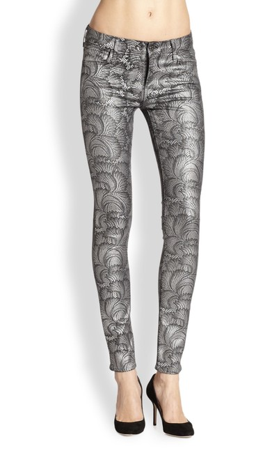 Item - Silver Gray Dark Rinse Women's The Contour Waistband Metallic Patterned Skinny Jeans Size 24 (0, XS)