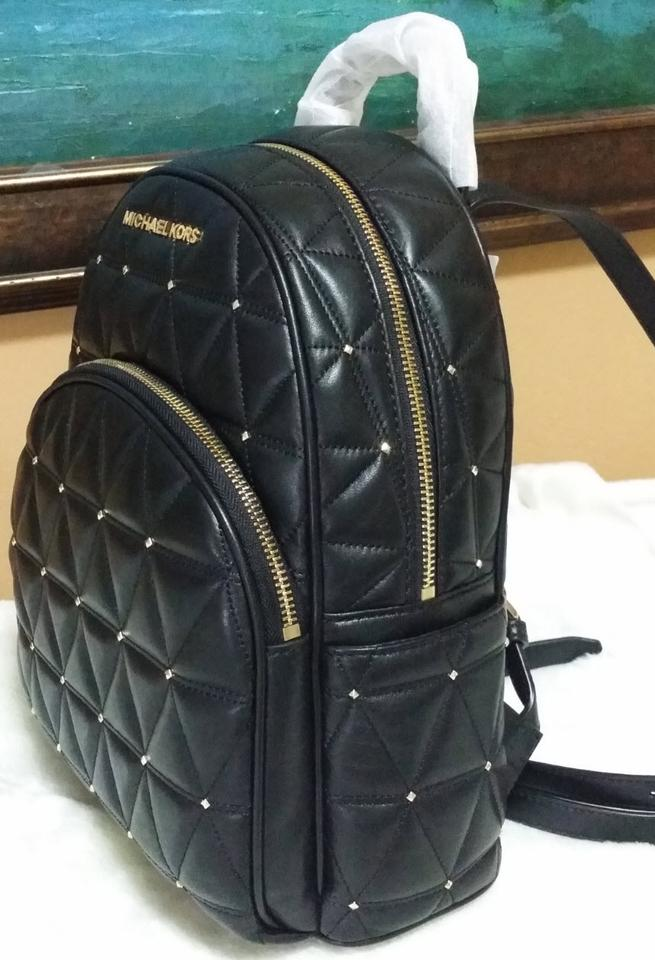 c293287a7055 Michael Kors Abbey Stud Quilted Black Gold Tone Leather Backpack ...