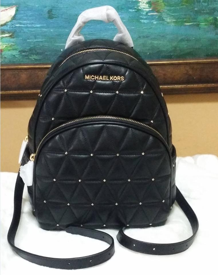 5e02f8e5213ced Michael Kors Abbey Stud Quilted Black Gold Tone Leather Backpack ...