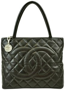 Chanel Quilted Leather Medallion Caviar Tote in Dark Brown