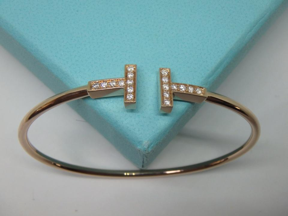 Tiffany & Co. Rose Gold T-wire Diamond 18k Medium Size Bracelet ...