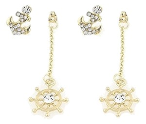Other Nautical Anchor Helm Crystal Acent Gold Tone Fashion Earring