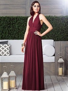 Dessy Burgundy Lux Chiffon Bridesmaid/Mob Dress Size 2 (XS)