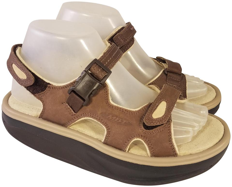 ed69687af942 MBT Brown and Beige Orthopedic Sports Leather Sandals Size US 7.5 ...
