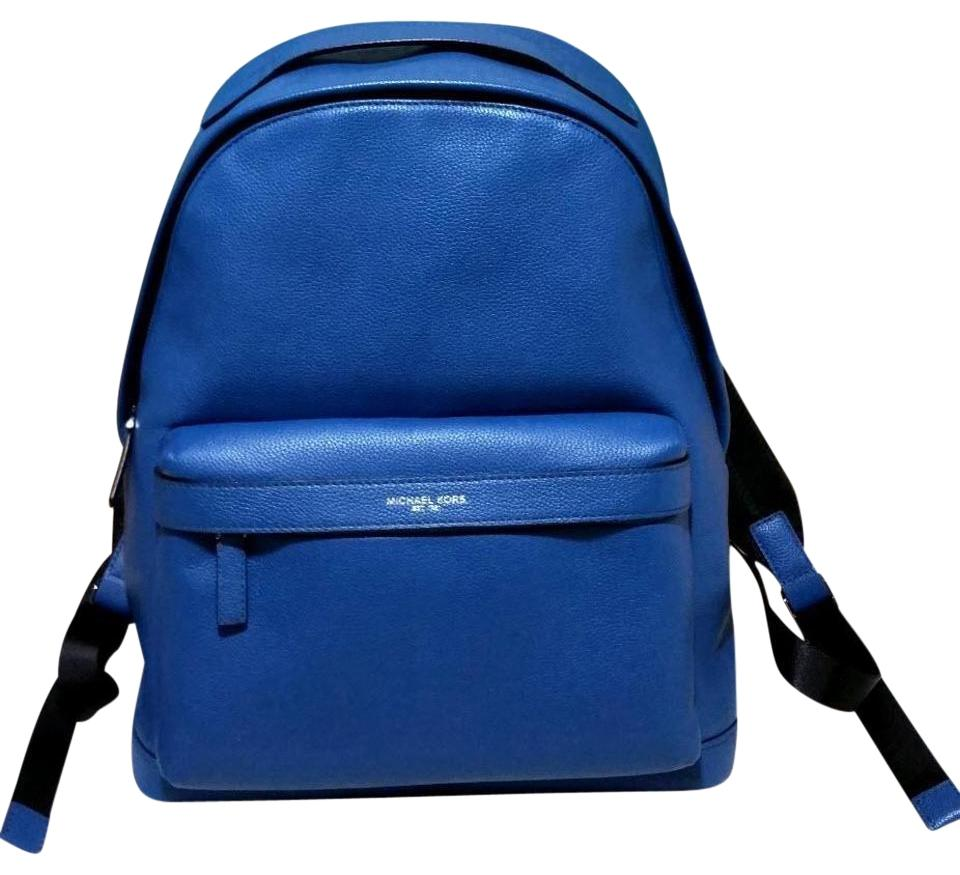 Michael Kors Mens Stephen Ocean Blue Leather Backpack 62% off retail d2f25c865c59a
