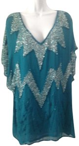 Antik Batik Sequins Color-blocking Silver Beads Top Teal blue