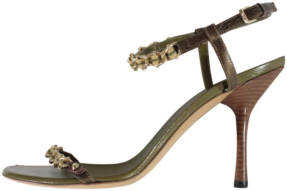 exceptional range of colors quality design find workmanship Gucci Olive Green Open Toe Chain Trim Ankle Strap Heels Sandals Size US 9.5  Regular (M, B)