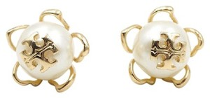 Tory Burch Tory Burch Crystal Pearl Gold Plated Logo Flower Studs Earrings