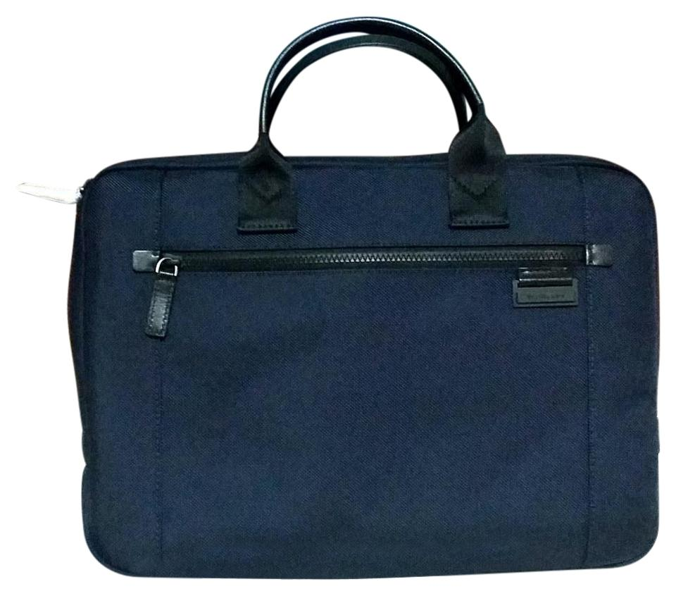 Well-known Michael Kors Mens Travis Large Slim Briefcase Navy Nylon Laptop  FB46