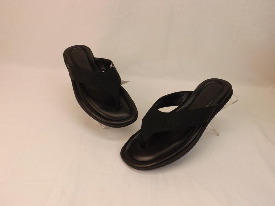 d01a726a2 Gucci Black Leather Guccissima Gg Thong Sandals Flip Flops 7 8 #353765 Shoes
