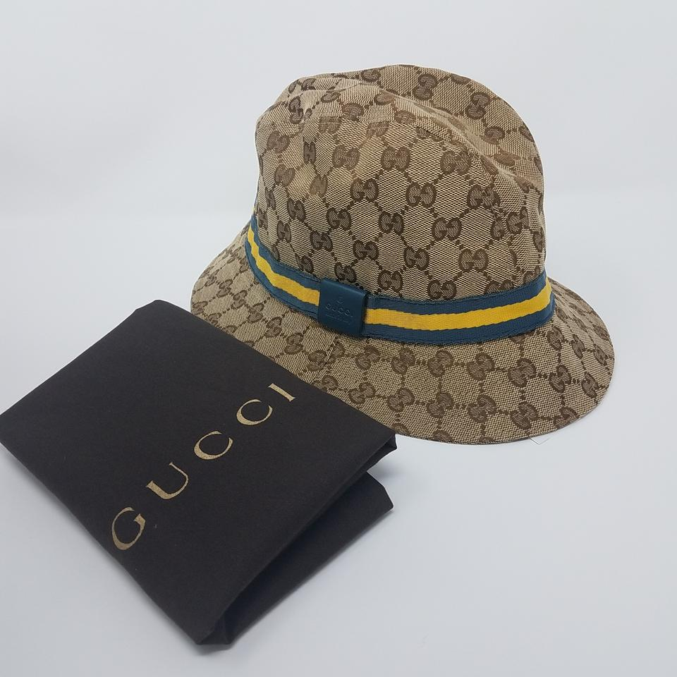 gucci beige brown tan gg monogram canvas bucket hat tradesy. Black Bedroom Furniture Sets. Home Design Ideas