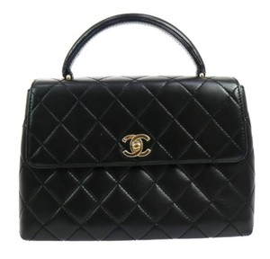 Chanel Vintage Lambskin Leather Quilted Satchel in Black