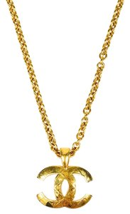 Chanel Authentic CHANEL Vintage Quilted CC Long Chain Necklace Gold