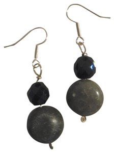 Handmade NEW Handmade Olive Serpentine Stone w Faceted Black Glass Beaded Earrings Buy3Get1Free Sale
