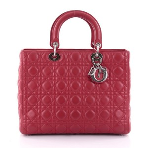 Dior Christian Cannage Lambskin Tote in Red