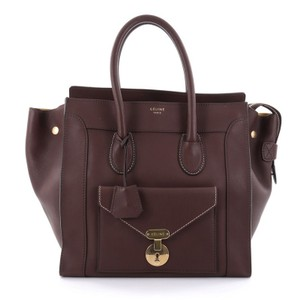 Cline Envelope Smooth Leather Tote in Brown