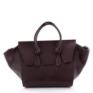 Added To Ping Bag Céline Tote Smooth Leather Satchel In Burgundy Tie Knot