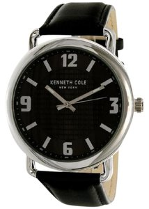 Kenneth Cole KCW1044 Men's Black Leather Bracelet With Black Analog Dial