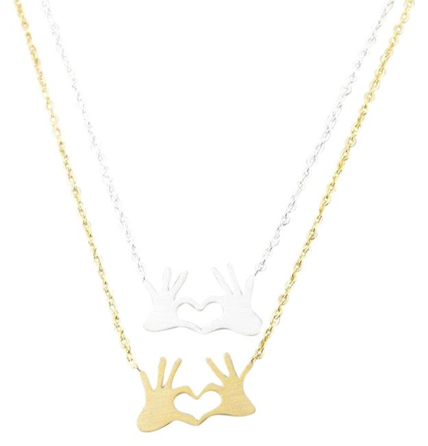 Item - Stainless Steel Double Hand Love Heart Pendant Necklace