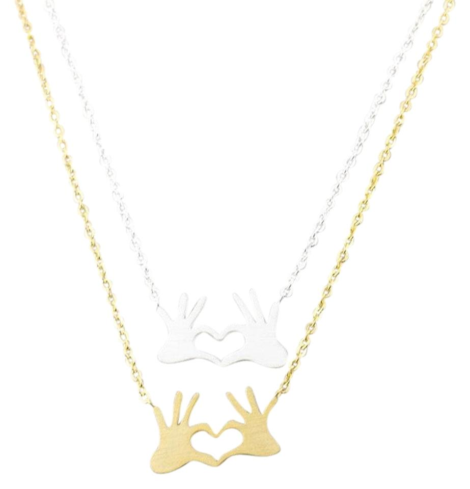 Gold silver double hand love heart pendant necklace tradesy queenesthershop double hand love heart necklaces pendant mozeypictures Gallery
