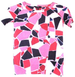 Gucci Abstract Print Wool Designer Clothes T Shirt PINK, NAVY BLUE