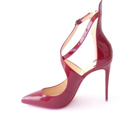 Christian Louboutin Patent Leather Marlenarock Vernis CARMIN BURGUNDY RED Pumps Image 3