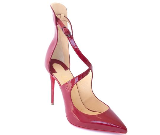 Christian Louboutin Patent Leather Marlenarock Vernis CARMIN BURGUNDY RED Pumps Image 4