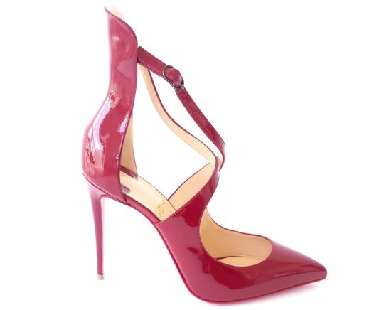 Christian Louboutin Patent Leather Marlenarock Vernis CARMIN BURGUNDY RED Pumps Image 5