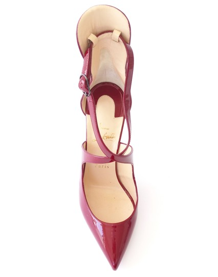 Christian Louboutin Patent Leather Marlenarock Vernis CARMIN BURGUNDY RED Pumps Image 7